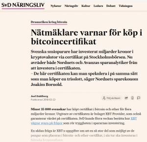 Avanza Bitcoin Certifikat XBT